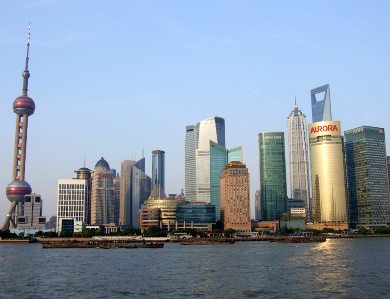 Chiny - panorama wieżowców Szanghaju