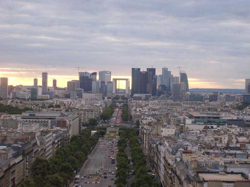 Paris-view of the districts of La Defense from the Arc de Triomphe.