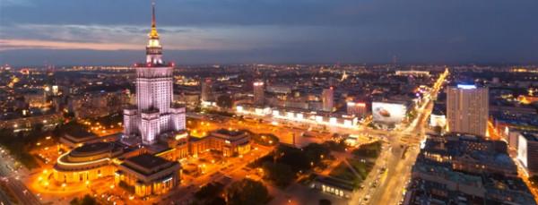 Warszawa widziana z dachów wieżowców